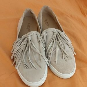 Tan, suede, fringed loafers. Gently worn. Sz. 7.5